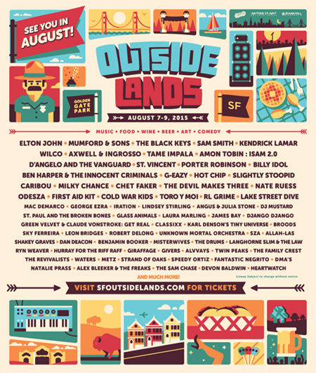The Music Of Artists playing Outside Lands